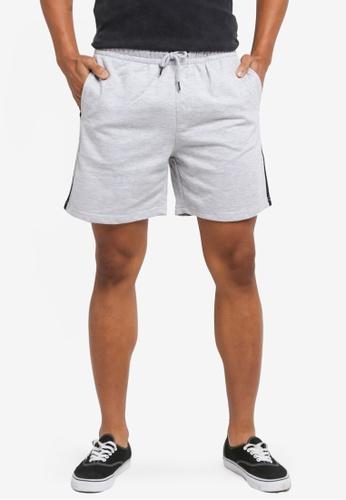 Factorie black and grey Sport Fleece Shorts 0C0E1AAC4293D2GS_1