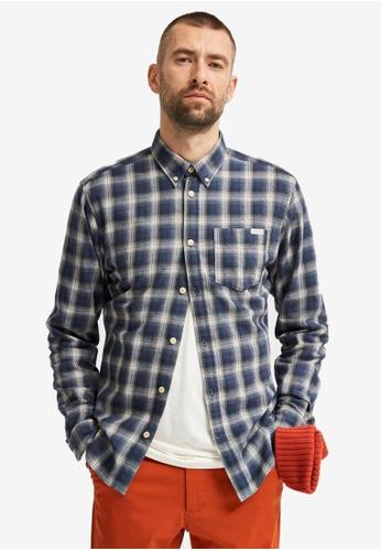 Selected Homme navy Clayton Slim Long Sleeve Shirt 62F4FAAE1C6AC7GS_1