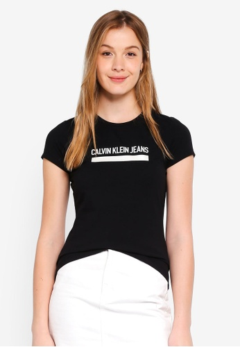 Calvin Klein black Short Sleeve Institution Logo Tee - Calvin Klein Jeans F1767AAFECDD48GS_1