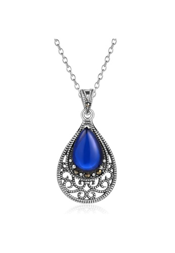 MBLife silver 925 Sterling Silver Blue Semi Precious Stone Vintage Teardrop Pendant Necklace 6340AAC91461D5GS_1