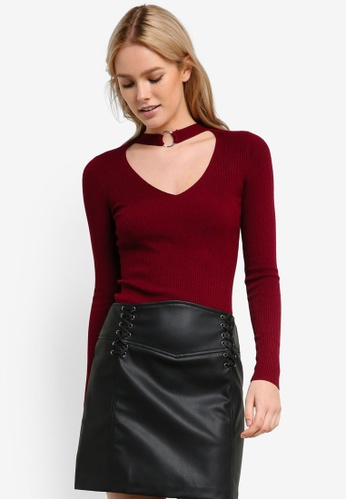 Miss Selfridge red Burgundy Ring Choker Neck Knitted Top MI665AA0RF1MMY_1