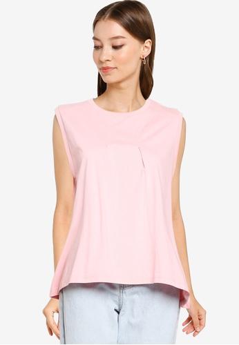 niko and ... pink Sleeveless Pleated Top C299FAA59B7287GS_1