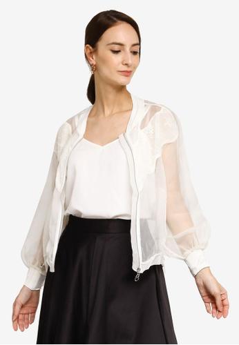 Hopeshow beige Zip Fly Sheer Lace Jacket A0E6DAA620CBFAGS_1