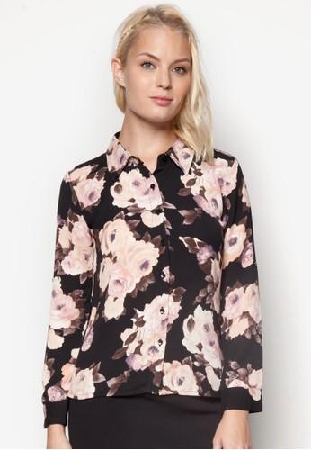 花卉圖案長袖襯衫, 服飾, esprit旗艦店襯衫