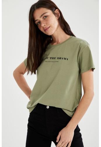 DeFacto green Woman Knitted Short Sleeve T-Shirt 1D721AA77BD7FBGS_1