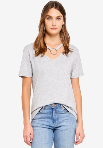 Brave Soul grey V Neck T-Shirt With Ring Detail 1C2D4AA14151A6GS_1