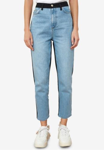 Trendyol blue Colorblock High Waist Mom Jeans 98F40AA08EEFDDGS_1