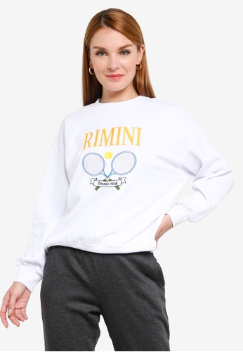 H&M white and multi Cotton-Blend Sweatshirt 65707AAED5260BGS_1