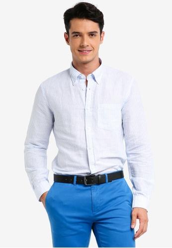 Brooks Brothers 藍色 經典亞麻條紋長袖襯衫 A792AAA4AE301EGS_1