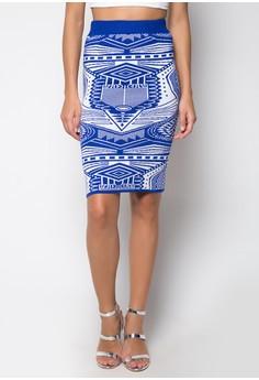 Midi Knitted Skirt Diamond Printed Design
