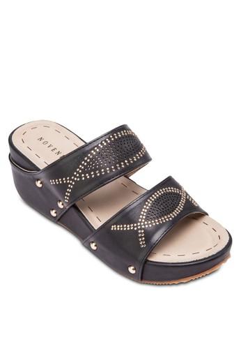閃鑽寬帶楔型跟涼鞋, 女鞋, 楔esprit hk store形涼鞋