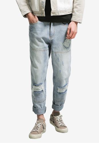 hk-ehunter blue Men Scratch Solid Washed Denim Jeans 95A73AAA2478DBGS_1