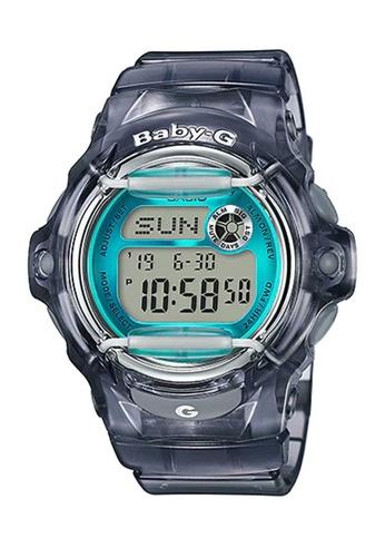 CASIO black Casio Baby-G Blue and Transparent Black Resin Watch 67913AC0AC13D2GS_1