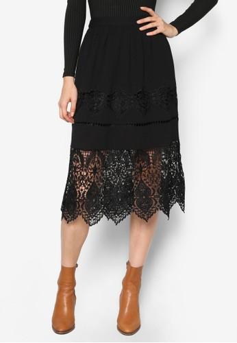 蕾絲裙esprit暢貨中心擺及膝裙, 服飾, 裙子