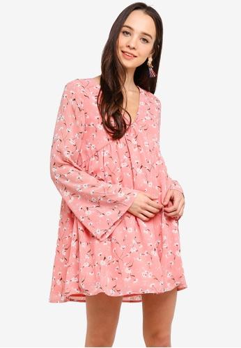 Something Borrowed pink Long Sleeves Babydoll Swing Dress 3C142AA8F6D335GS_1