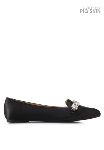LOST INK black Faiz Jewel Trim Pointed Loafers LO238SH0T1S6MY_1