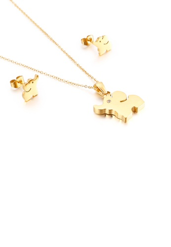 Glamorousky white Simple and Cute Plated Gold Elephant 316L Stainless Steel Necklace and Stud Earrings Set C1AF9ACB8C2717GS_1