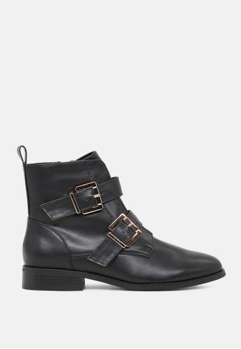 London Rag 黑色 系带宽头双排扣短靴 C1E7BSH236A9D3GS_1