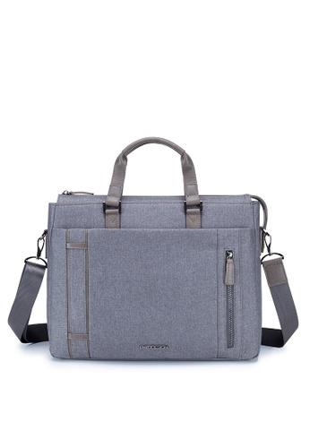 "ENZODESIGN ENZODESIGN G.T. Leather Trim Two Tone Grey Polyester Flap 15"" Laptop Briefcase 12179GRYSG 29CC2AC48EDE61GS_1"