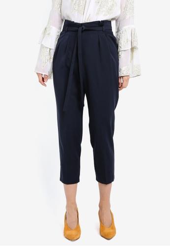 Miss Selfridge navy Petite Paper Bag Trousers MI665AA0SIT4MY_1