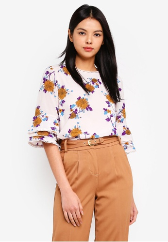 ESPRIT white 3/4 Sleeve Printed Blouse AD3A4AACF02713GS_1