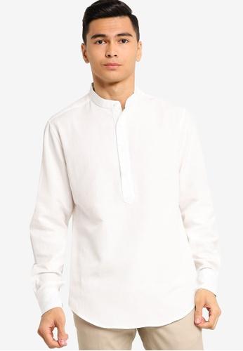 ZALORA BASICS white Basic Oxford Half Placket Shirt 00E05AA5ECCB13GS_1
