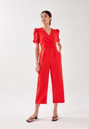 Love, Bonito orange Tabby Puff Sleeve Jumpsuit C0AECAA1CF17DAGS_1