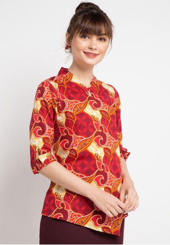 Bateeq red and multi Long Sleeve Cotton Print Blouse 468B0AA93C0193GS_1