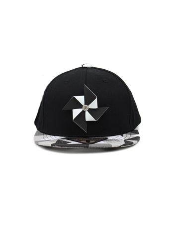 M-Wanted black M. Windmill Snapback Cap MW173AC56KTBSG_1