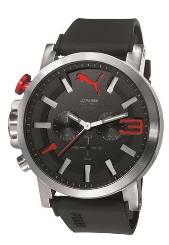 Puma black and silver Puma Ultrasize 50 Chronograph Silver/Black silicon Strap Watch PU440AC76CVZSG_1