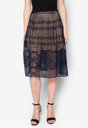 zalora 衣服評價Agnes 蕾絲鉤花短裙, 服飾, 及膝裙