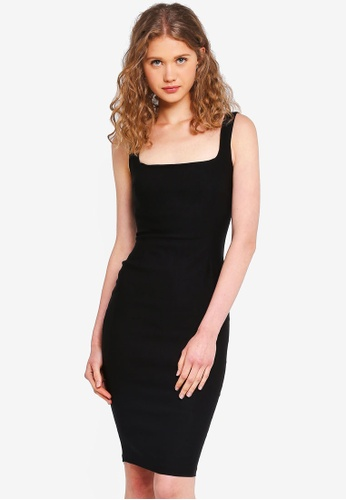Vesper black Zada Square Neck Midi Dress 2F6D0AA5E6DCD5GS_1