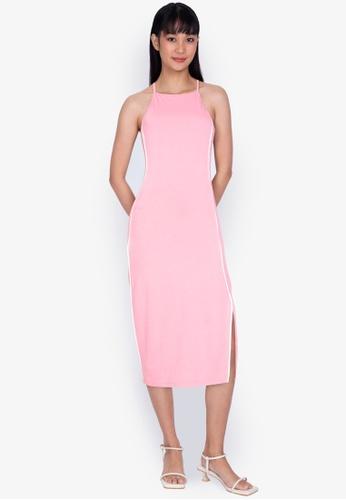 ZALORA BASICS pink Contrast Piping Midi Dress with Slit F3EA6AA4EF9B6BGS_1