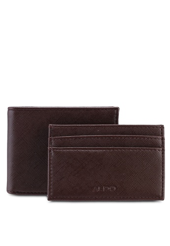 ALDO brown Lebsko Wallet and Card Holder Set 0A55CAC3EBDE94GS_1