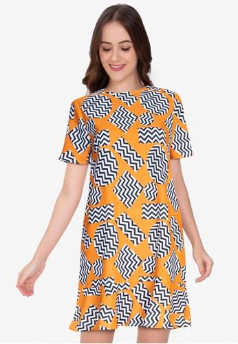 ZALORA WORK multi Short Sleeve Peplum Hem Dress 2BE01AA31E3DB1GS_1