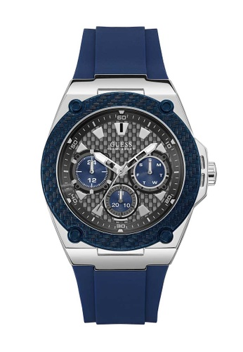 Guess blue Guess Legacy Silver and Blue Rubber Watch D67F9ACCBF79BAGS_1