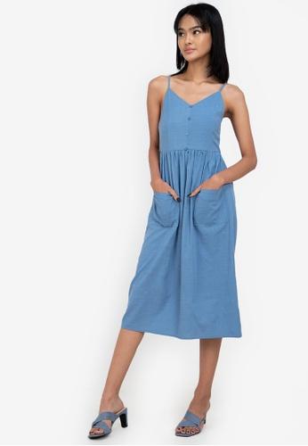 ZALORA BASICS blue Button Down Midi Dress CC2A3AA012F2A0GS_1