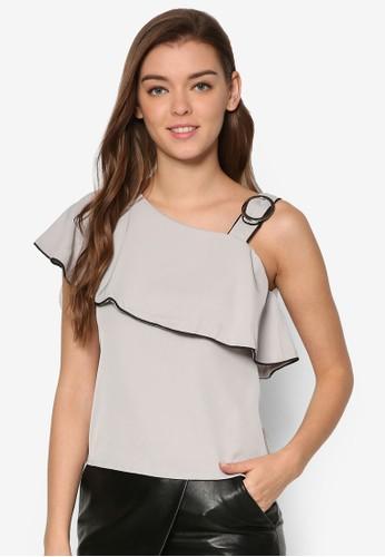 Waldorf 單肩荷葉領T-shirt、 服飾、 上衣MeganeWaldorf單肩荷葉領上衣最新折價