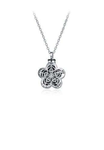 Glamorousky silver 925 Sterling Silver Fashion Elegant Flower Pendant with Necklace C6A50ACB8ED2D3GS_1