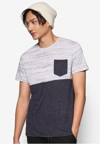 紋理色塊拼esprit 尖沙咀接貼合口袋 TEE, 服飾, 條紋T恤