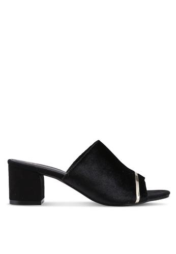 Bata 黑色 絲絨粗跟穆勒鞋 15E46SHAD682DBGS_1