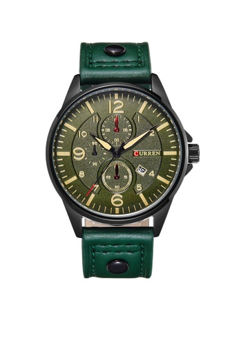 curren green Curren 8164 Men's Military Sports Date Display Leather Strap Classic Watch (Green) CU537AC98TUVMY_1