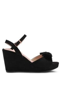 Velvet black Front Tassel Ankle Strapped Wedges B645FSHB313695GS_1