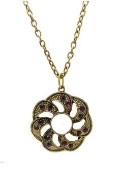 Flower Twist with Rhinestones Pendant Necklace