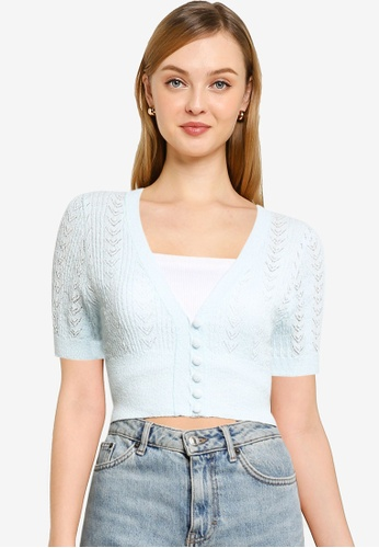Cotton On blue Partners In Pointelle Crop Cardigan F4C73AA4529D5FGS_1