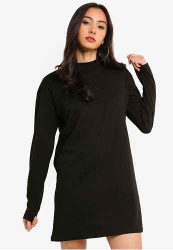 MISSGUIDED black Long Sleeve T-Shirt Dress D6129AAB271AAEGS_1