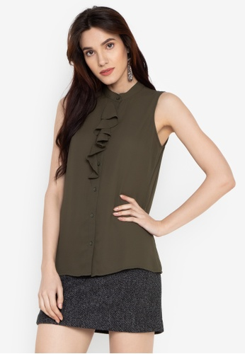 Susto The Label green Reyla Ruffle Top A41DBAA004DA0CGS_1