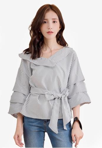 Yoco grey Stripe Tiered Sleeve Wrap Top 95959AA868A2E7GS_1