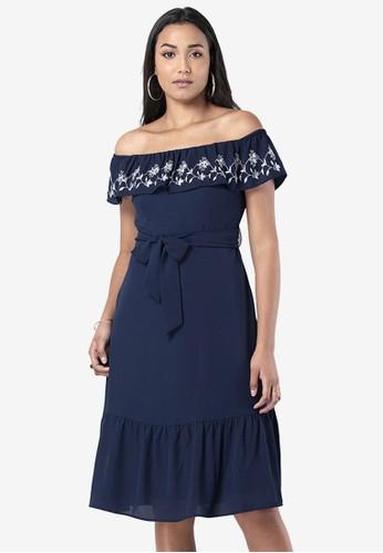FabAlley blue Embroidered Off Shoulder Midi Dress 6F5DEAA316EA89GS_1