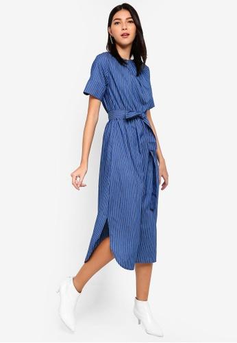 ZALORA blue and multi Belted Midi Dress 42D39AA619A4FEGS_1